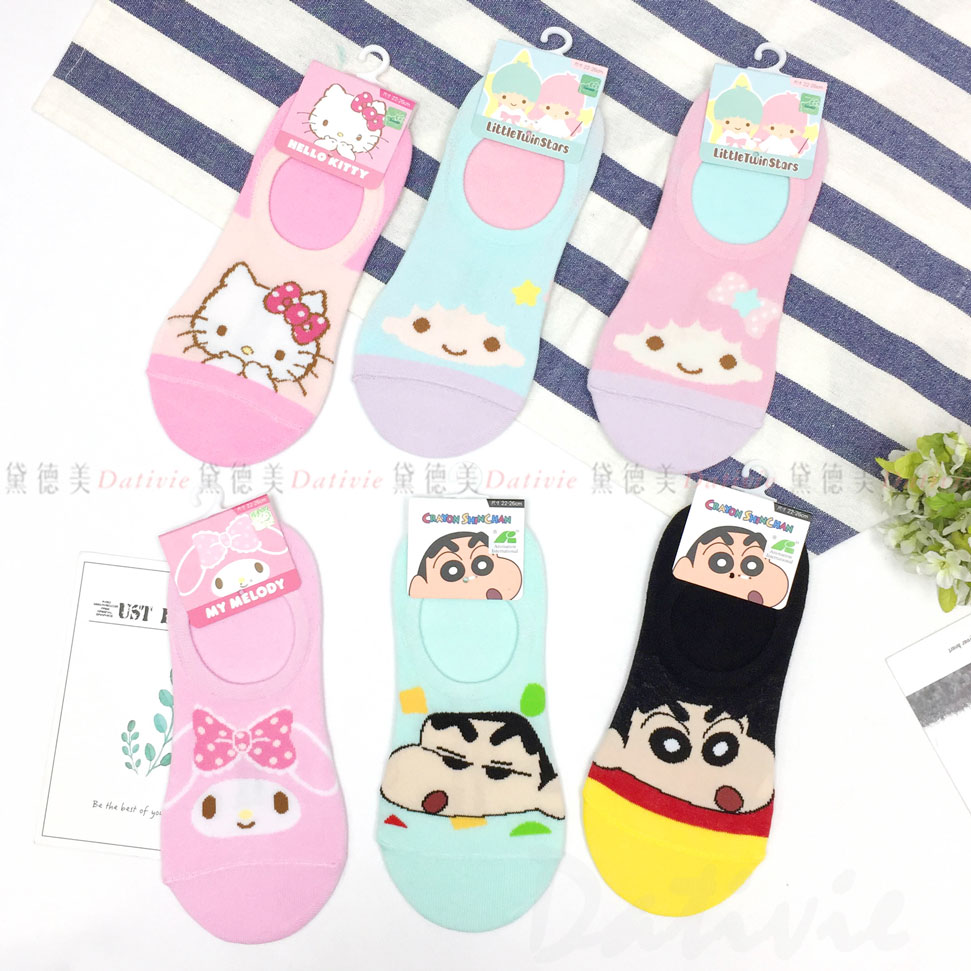 蠟筆小新 三麗鷗 隱形襪 五款 小新 睡衣 美樂蒂 雙子星 kitty 正版授權