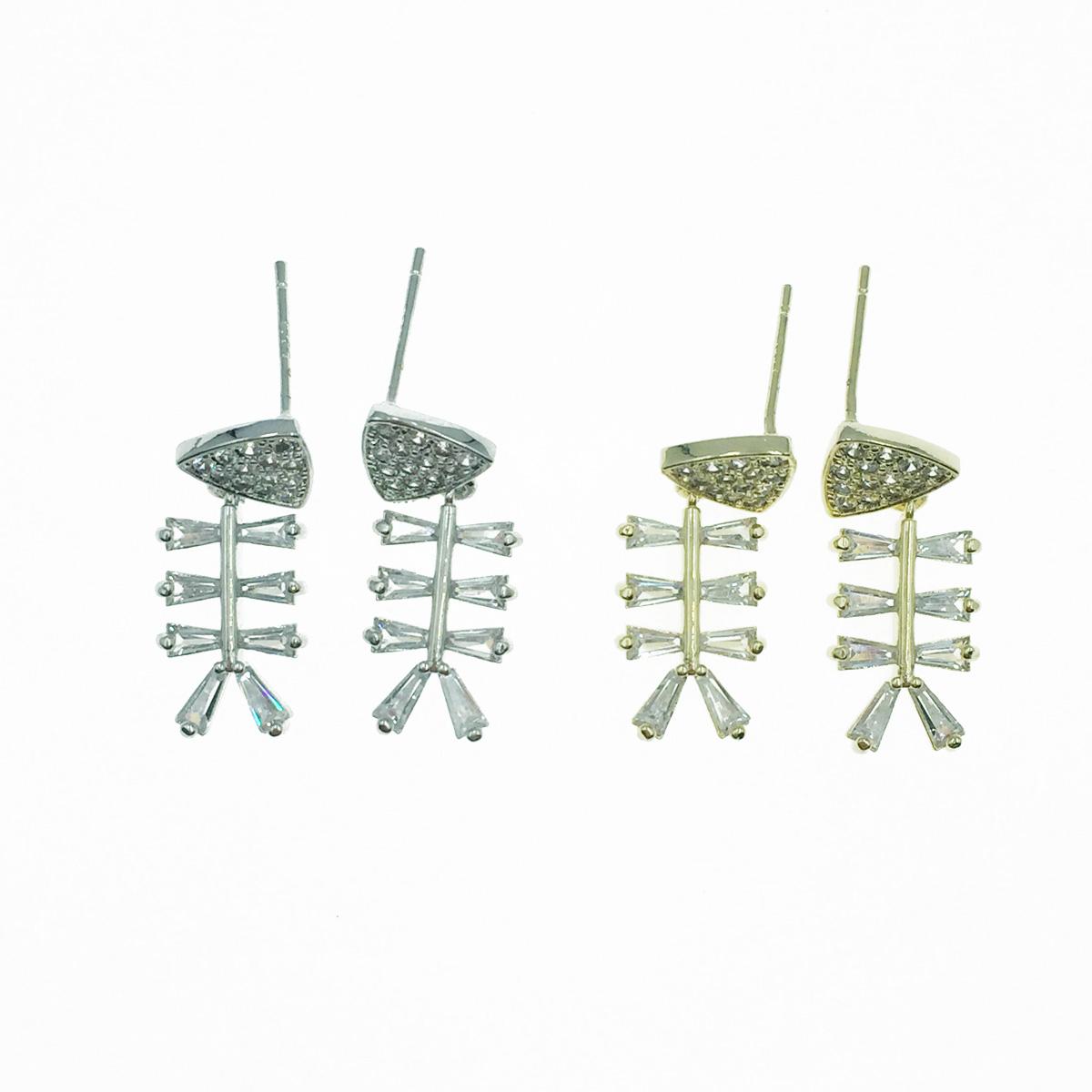 韓國 925純銀 魚 魚骨造型 水鑽 金銀2色 垂墜感 耳針式耳環