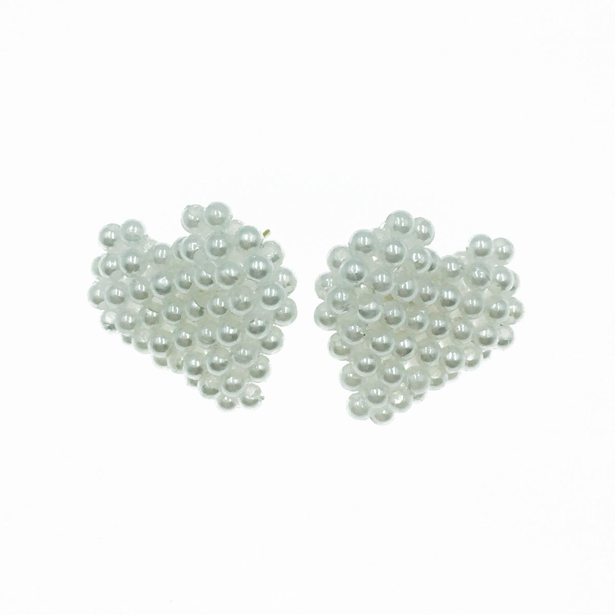韓國 925純銀  愛心造型 珍珠 滿版 氣質甜美款 耳針式耳環