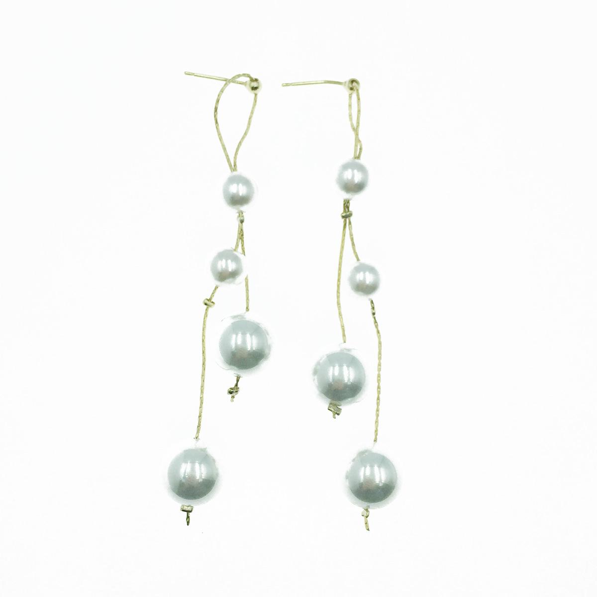 韓國 925純銀 珍珠 串鍊 氣質 垂墜感 耳針式耳環