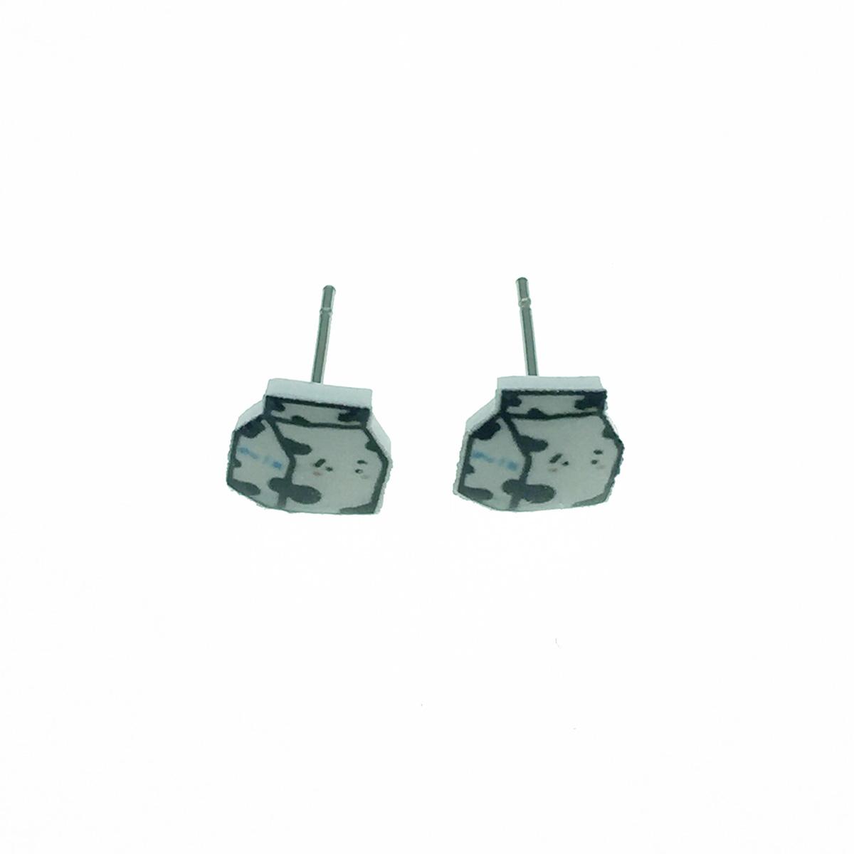 不鏽鋼 牛奶造型 可愛趣味 耳針式耳環
