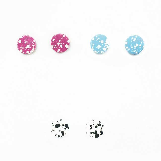 不鏽鋼 潑漆 撞色 3色選 日常百搭款 耳針式耳環