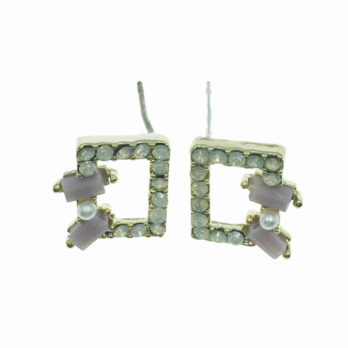韓國 925純銀 簍空 珍珠 寶石 耳針式耳環