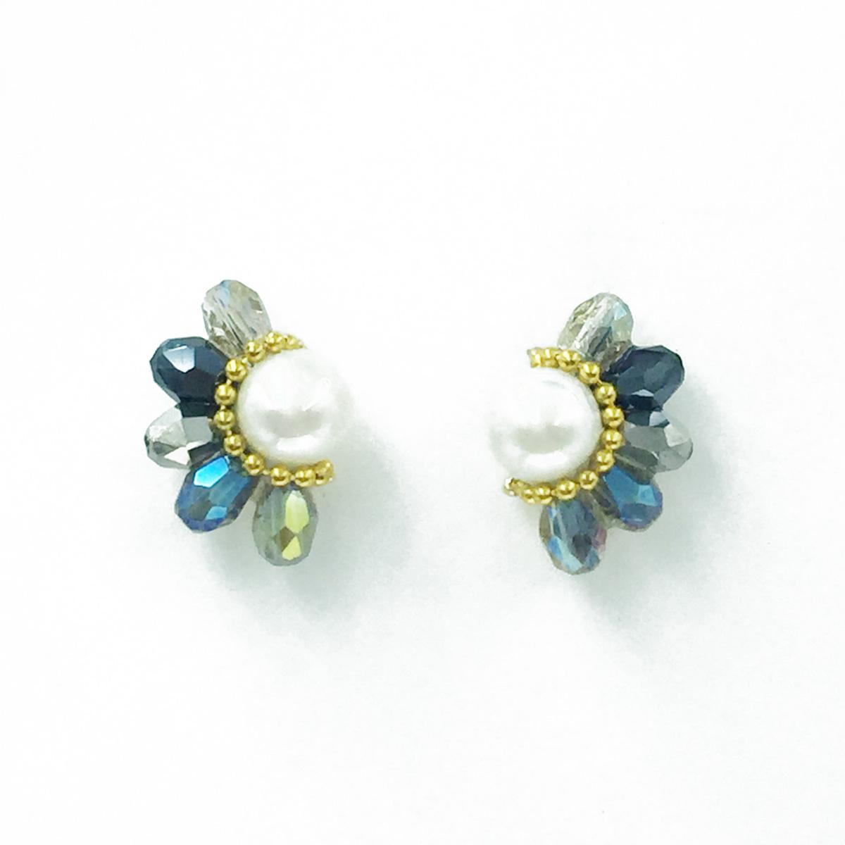 韓國 925純銀 珍珠 小金珠 寶石 優雅款 耳針式耳環