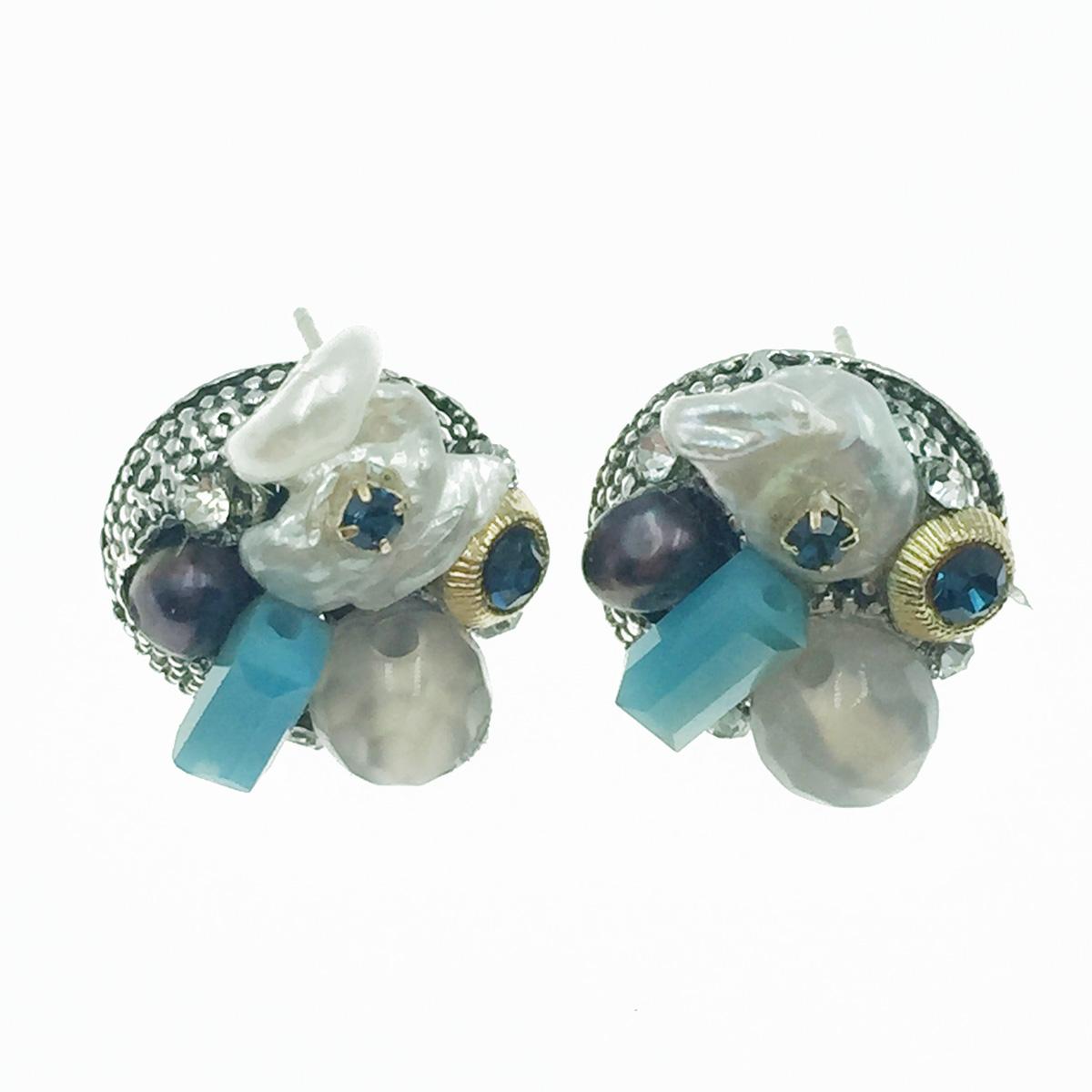 韓國 925純銀 水鑽 寶石 復古民族風 耳針式耳環
