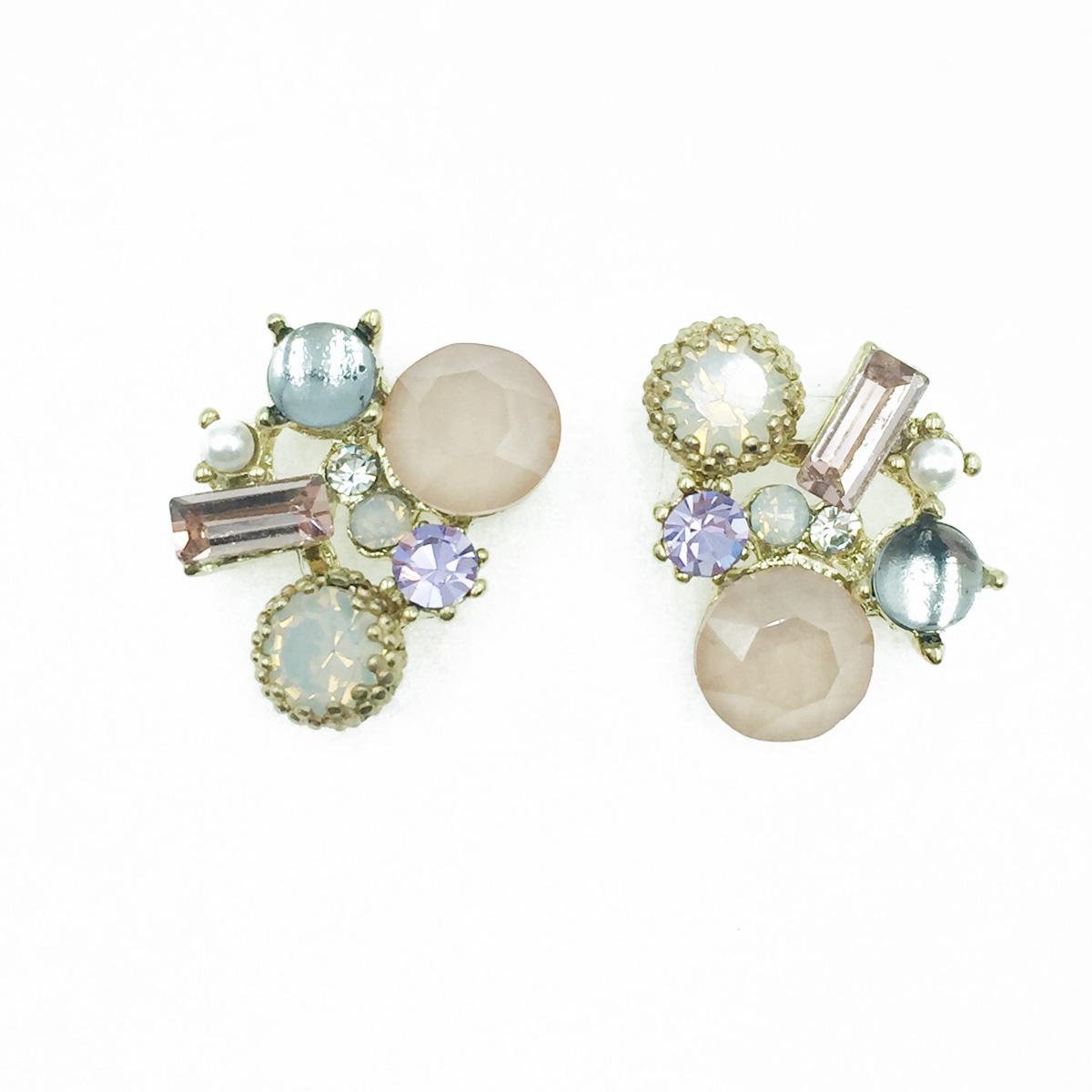 韓國 925純銀 水鑽 珍珠 寶石 甜美款 耳針式耳環