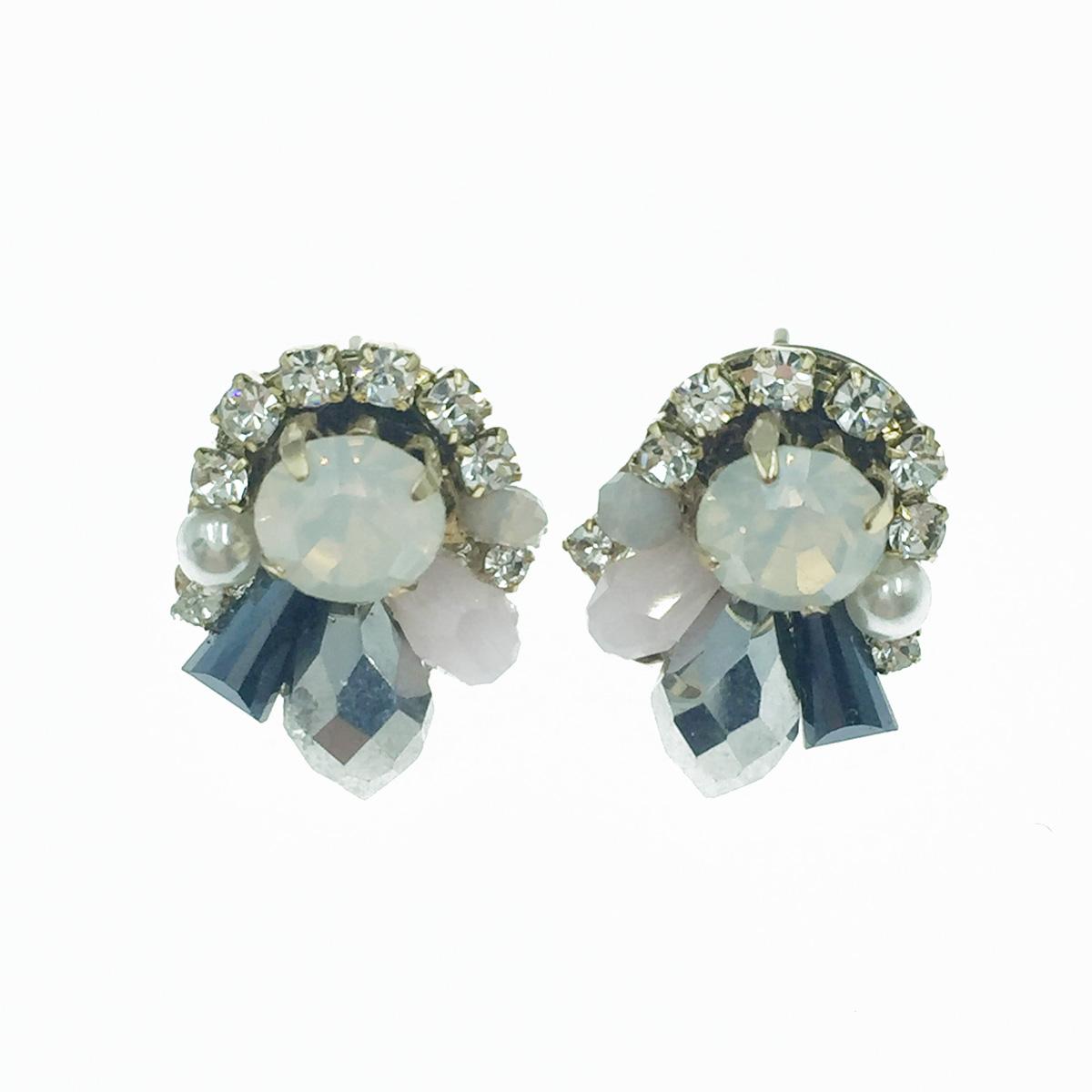 韓國 925純銀 水鑽 寶石 珍珠 優雅款 耳針式耳環