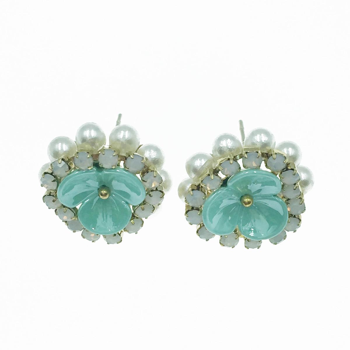 韓國 925純銀 花 小金珠 珍珠 寶石 耳針式耳環