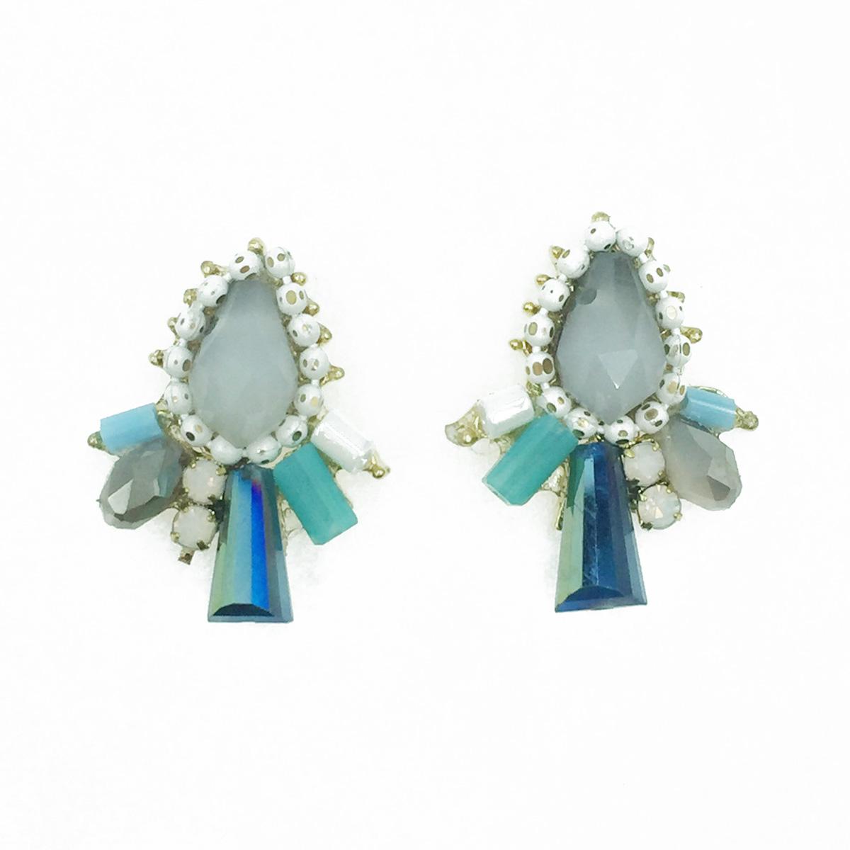 韓國 925純銀 寶石 珠珠 優雅復古 耳針式耳環