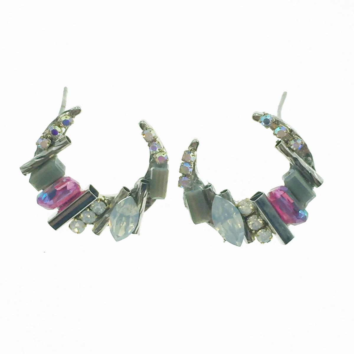 韓國 925純銀 水晶 水鑽 寶石 半月 耳針式耳環