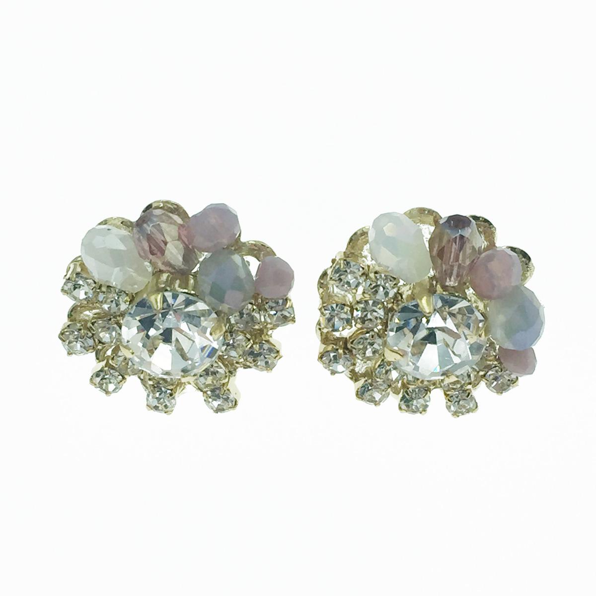 韓國 925純銀 水鑽 寶石 甜美 氣質優雅 耳針式耳環