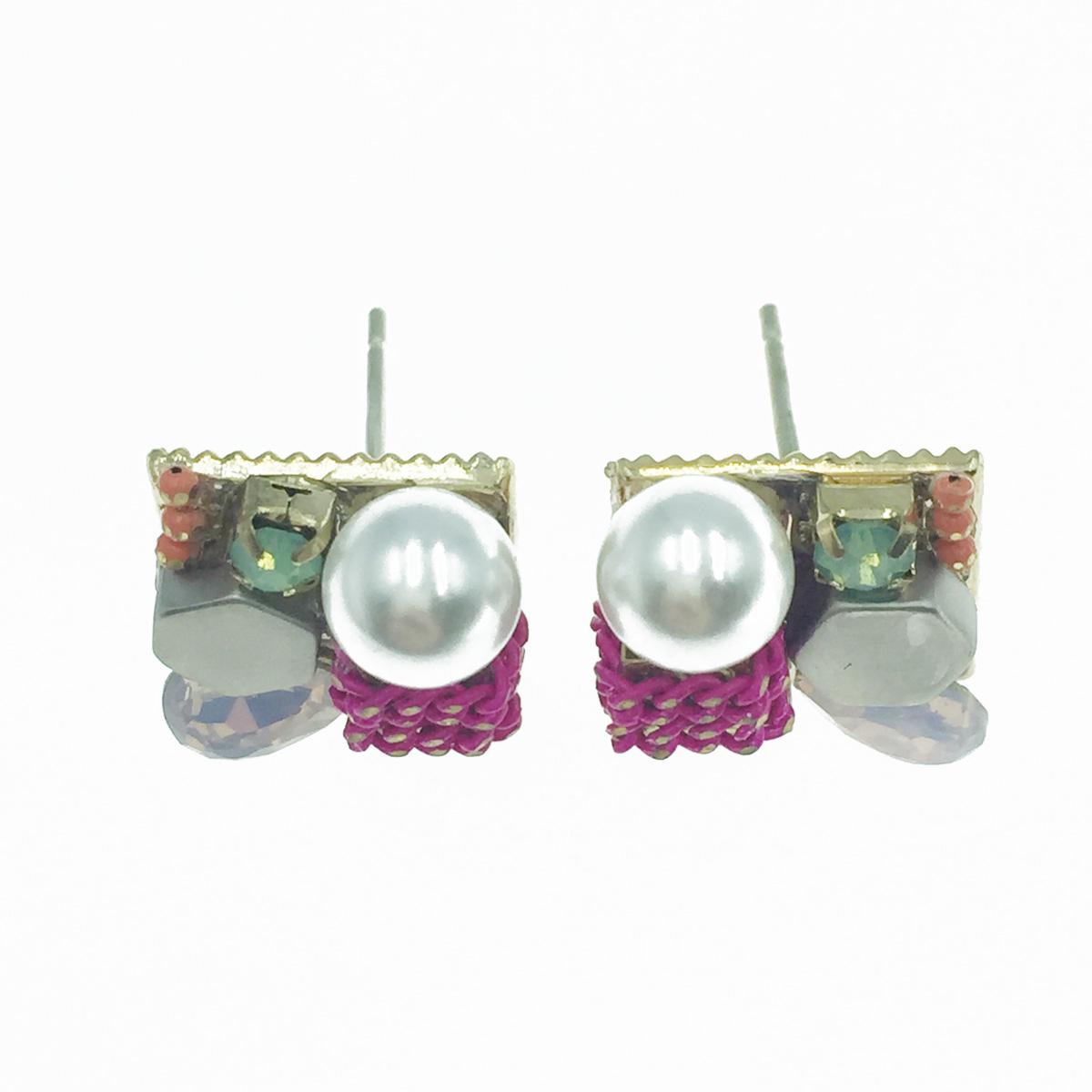 韓國 925純銀 寶石 珍珠 優雅 耳針式耳環