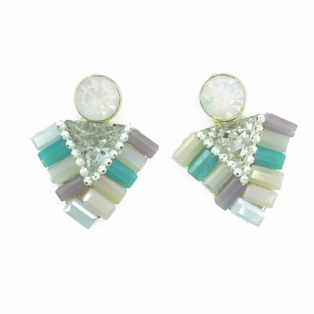 韓國 925純銀 三角水鑽 寶石 珠珠 優雅氣質款 耳針式耳環