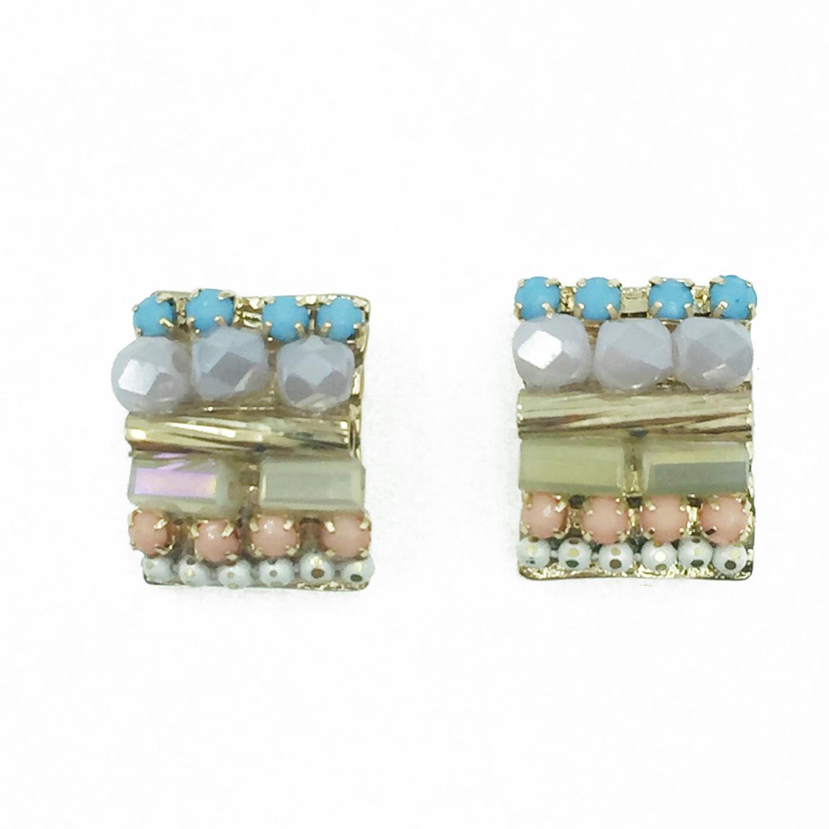 韓國 925純銀 小珠珠 水晶寶石 小管珠 耳針式耳環
