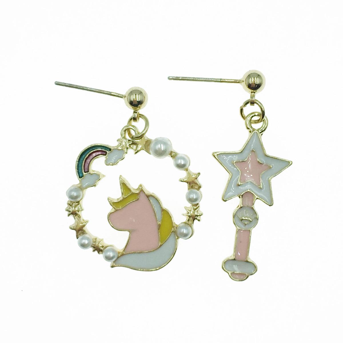 韓國 925純銀 彩虹 珍珠花圈 星星 飛馬 不對稱 垂墜感 耳針式耳環