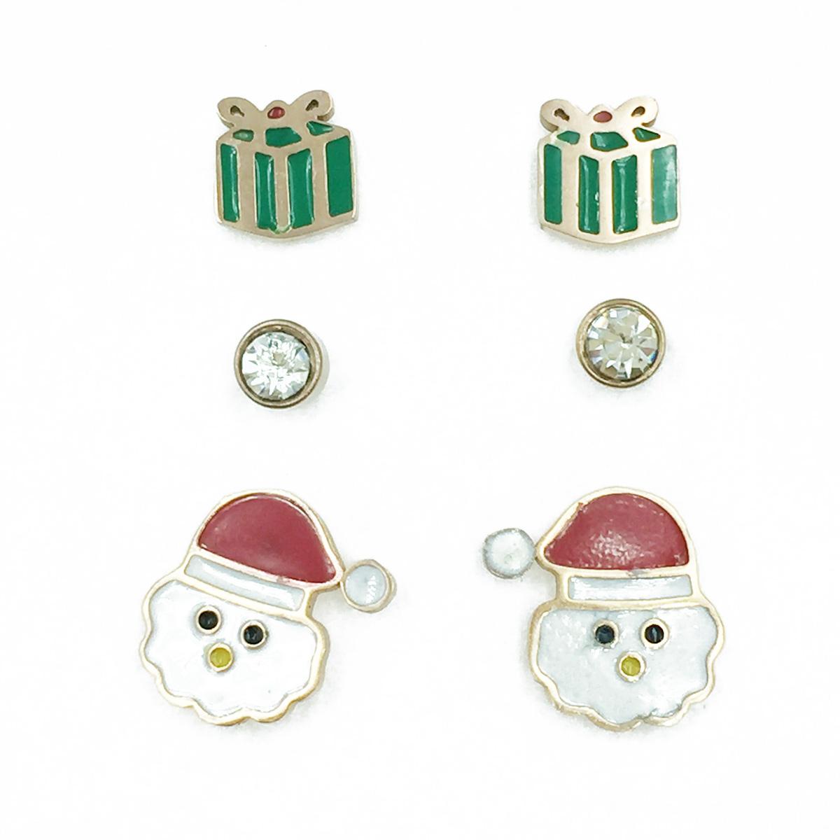 韓國 不鏽鋼 聖誕節系列 聖誕老人 禮物 水鑽 3對組 耳針式耳環