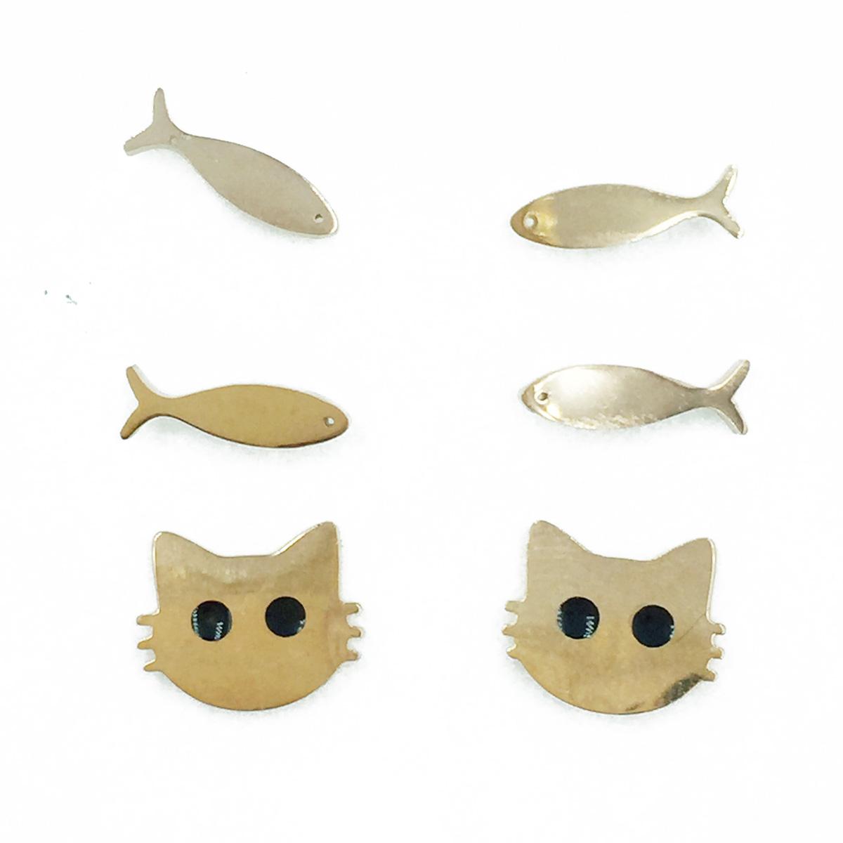 韓國 不鏽鋼 玫瑰金 魚 貓咪 3對組 金屬簡約風 耳針式耳環