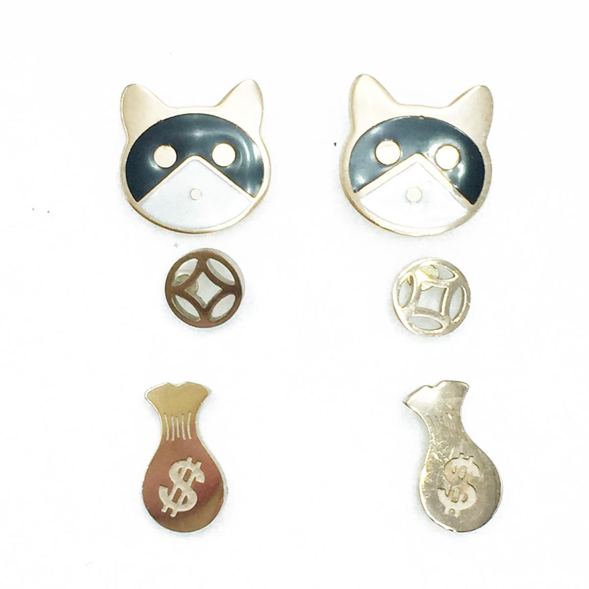 韓國 不鏽鋼 錢袋 可愛動物 玫瑰金 超值3對組 耳針式耳環