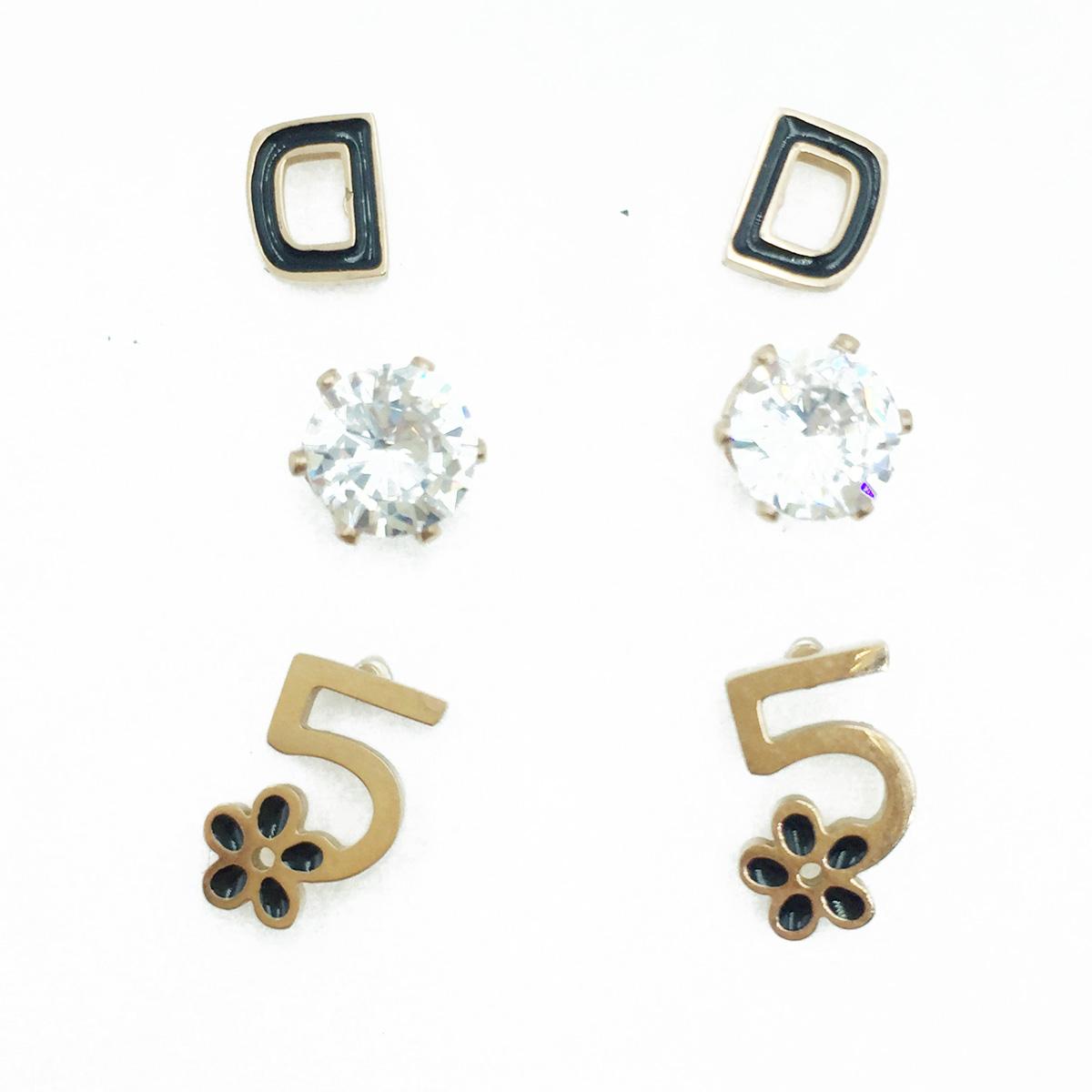 韓國 不鏽鋼 數字5 花 水鑽 爪鑽 玫瑰金邊 3對組 耳針式耳環