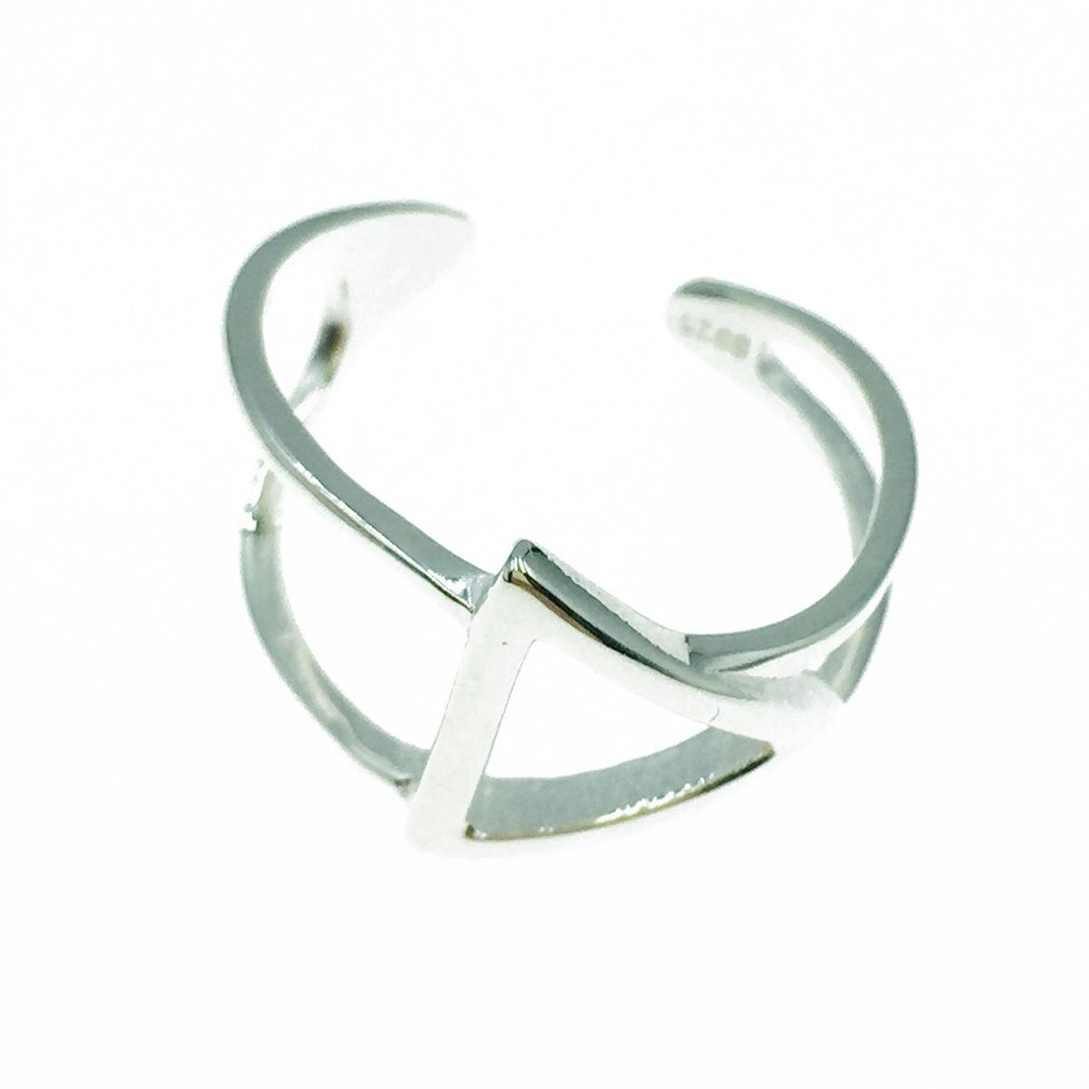 韓國 925純銀 簍空三角形 歐美金屬風 簡約款 可調式 手飾 戒指