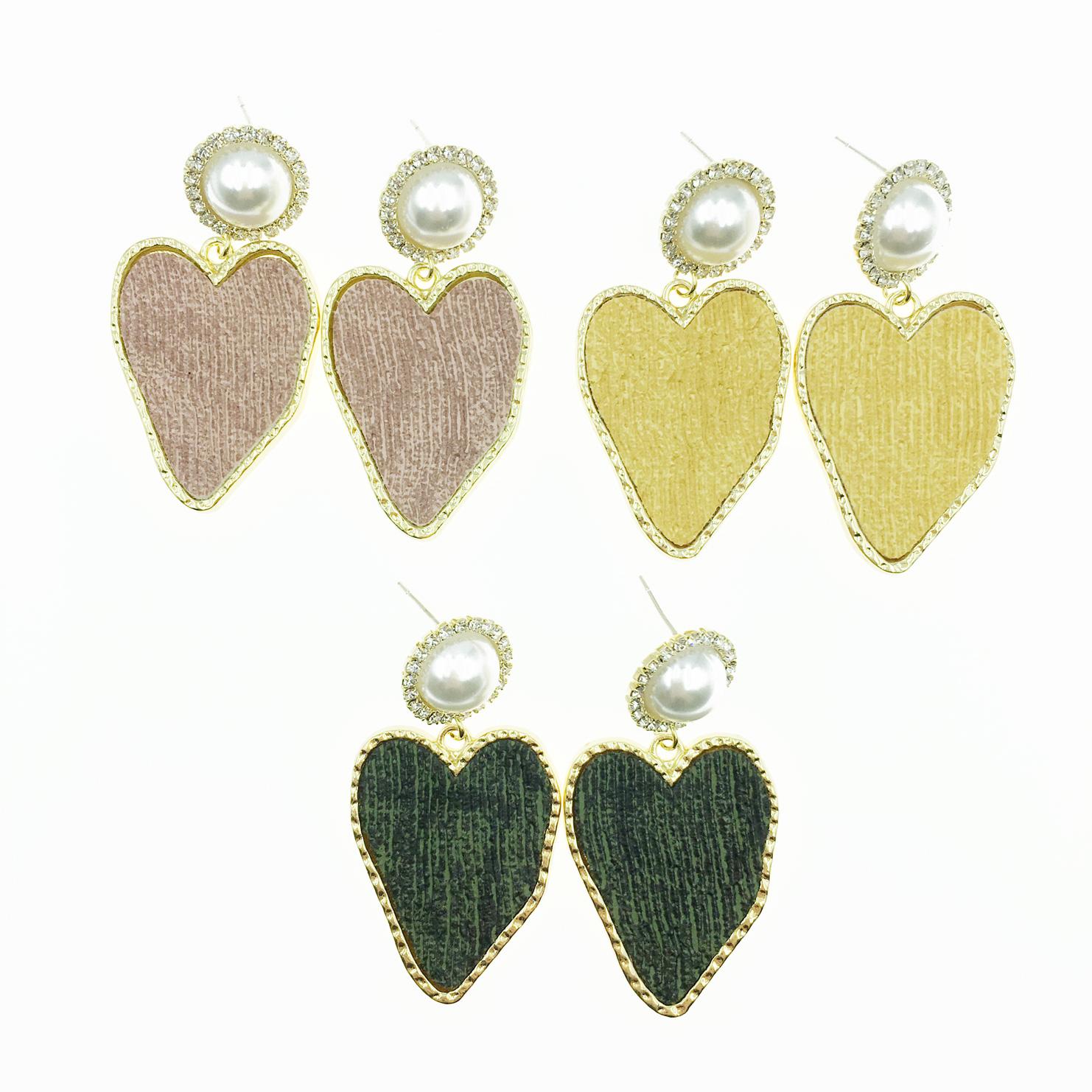 韓國 925純銀 珍珠 水鑽 金邊金框 愛心 3色 垂墜感 耳針式耳環