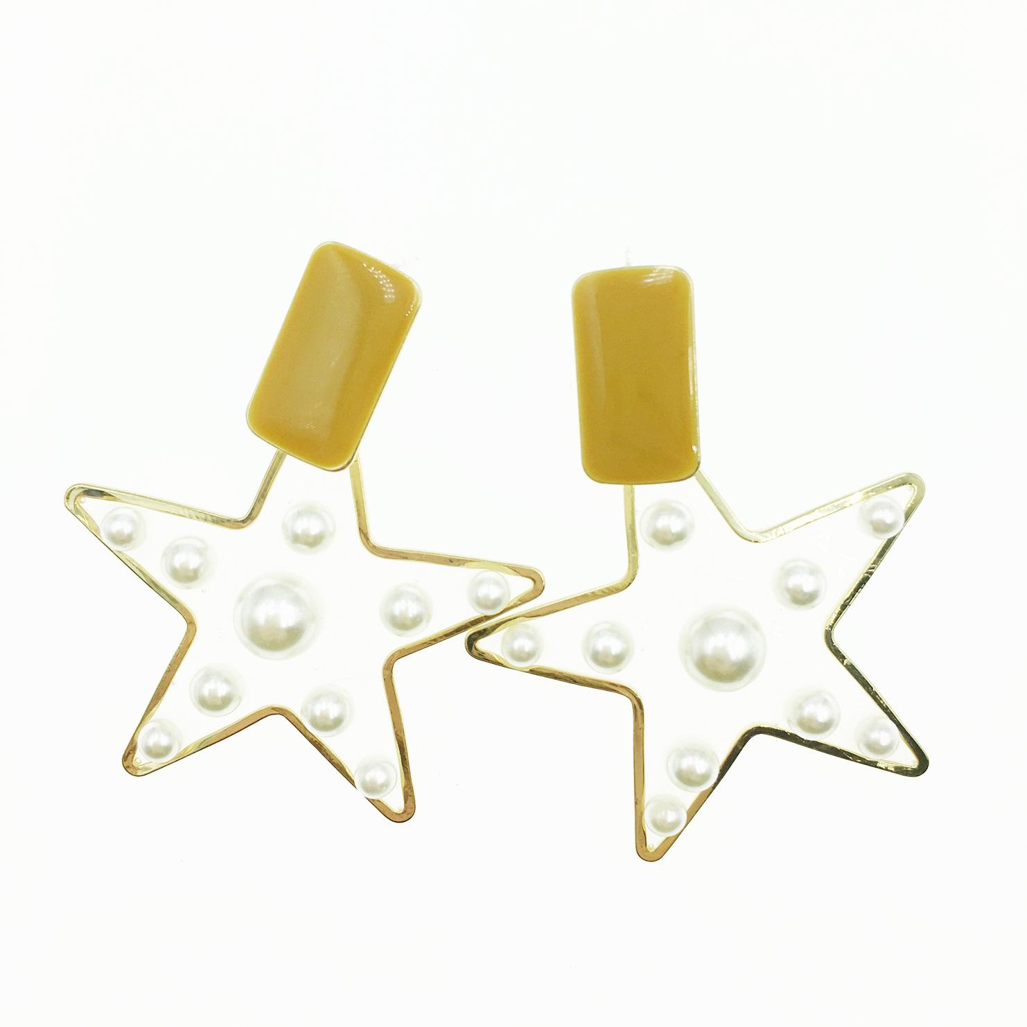韓國 925純銀 素色長方形 大星星 夾心珍珠 垂墜感 耳針式耳環