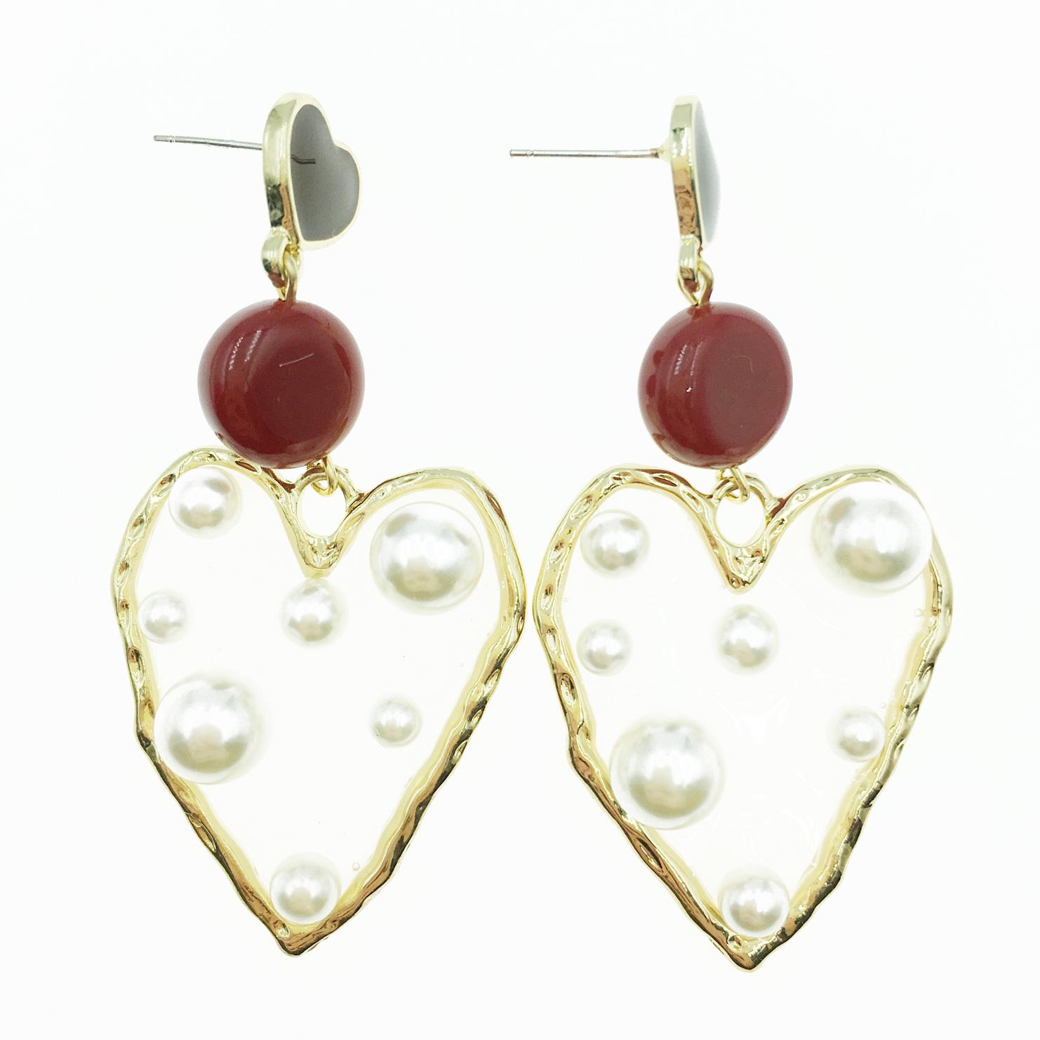 韓國 925純銀 金邊大愛心 珍珠夾心 透明 垂墜感 耳針式耳環