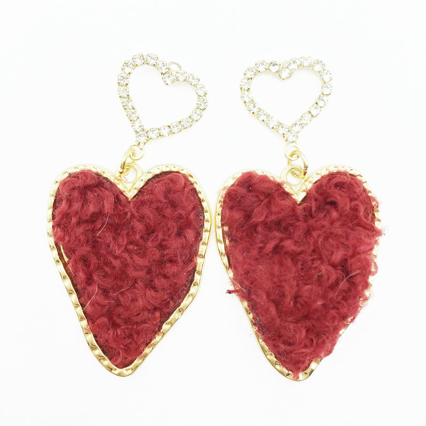 韓國 925純銀 水鑽愛心 毛線 甜美款 酒紅 垂墜感 耳針式耳環