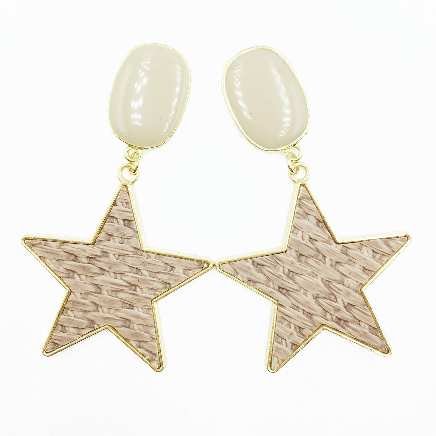 韓國 925純銀 素面橢圓 金邊大星星 編織 莫蘭迪色系 垂墜感 耳針式耳環