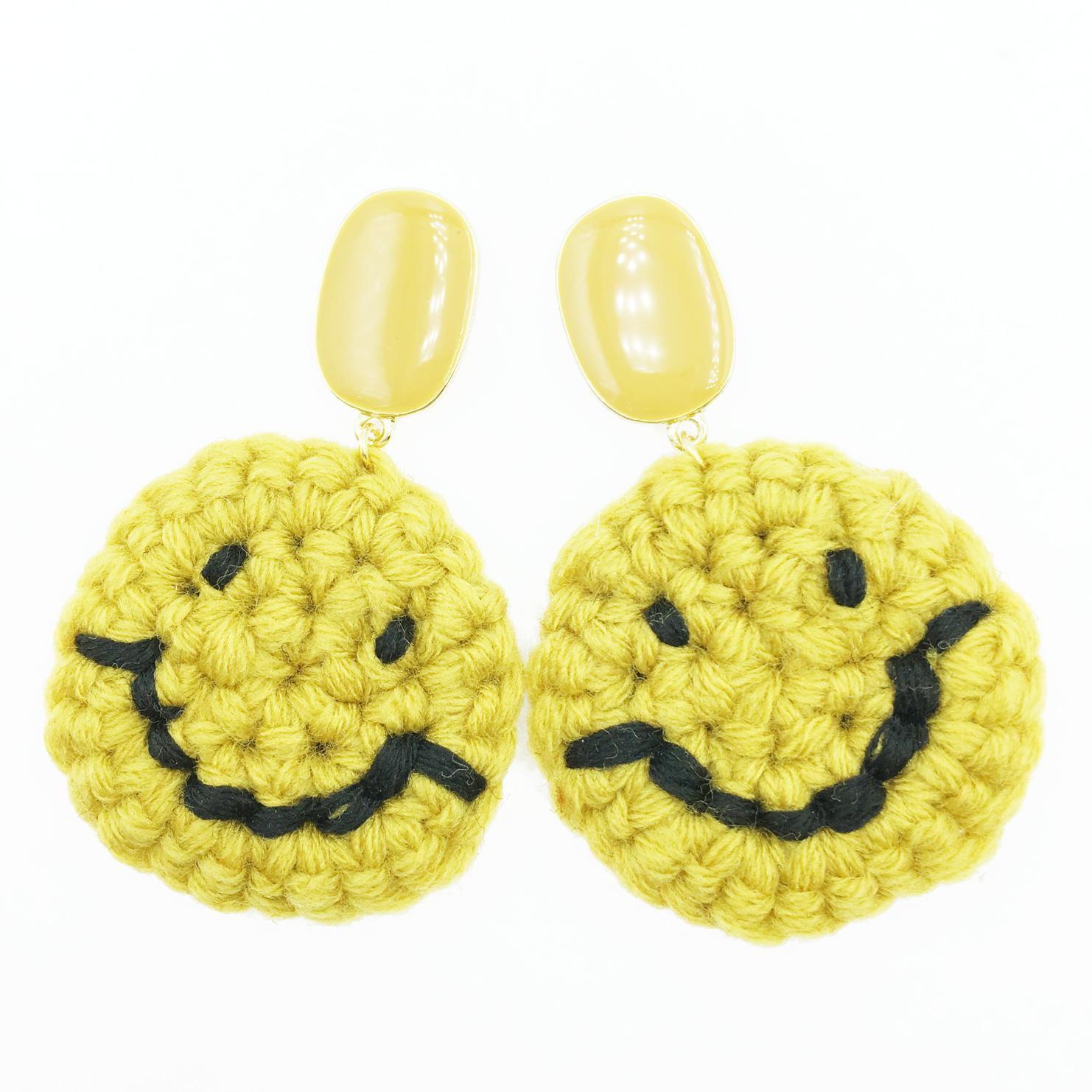 韓國 925純銀 素色橢圓 編織 大笑臉 微笑 垂墜感 耳針式耳環