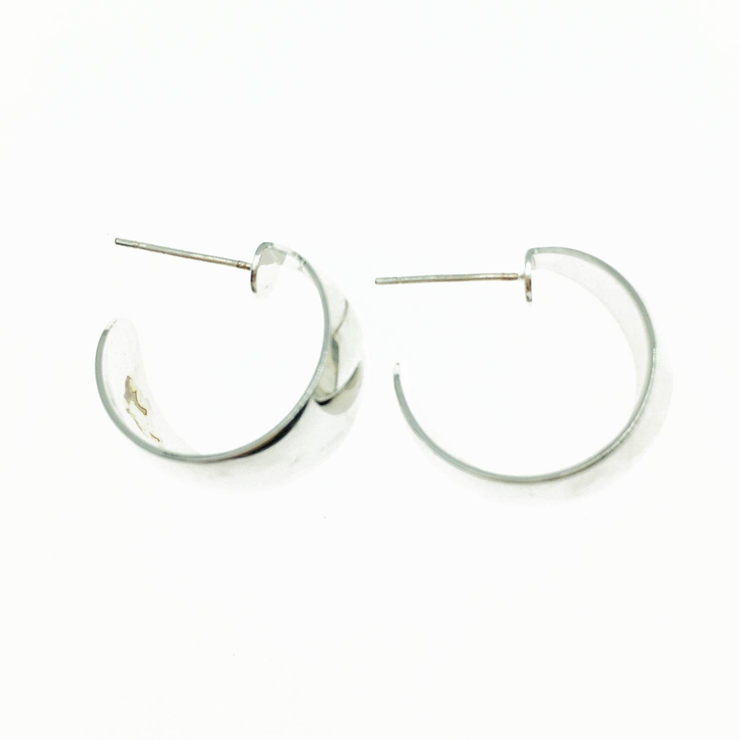 韓國 925純銀 開口半圓 金屬 歐美簡約風 百搭款 耳針式耳環