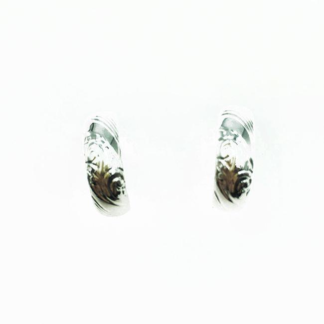 韓國 925純銀 金屬刻紋 歐美風 百搭款 耳針式耳環