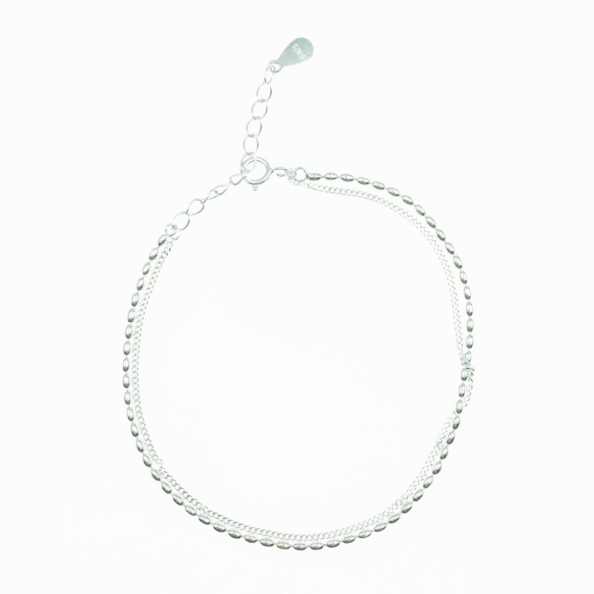 韓國 925純銀 雙鍊 銀 小珠鍊 手飾 手鍊