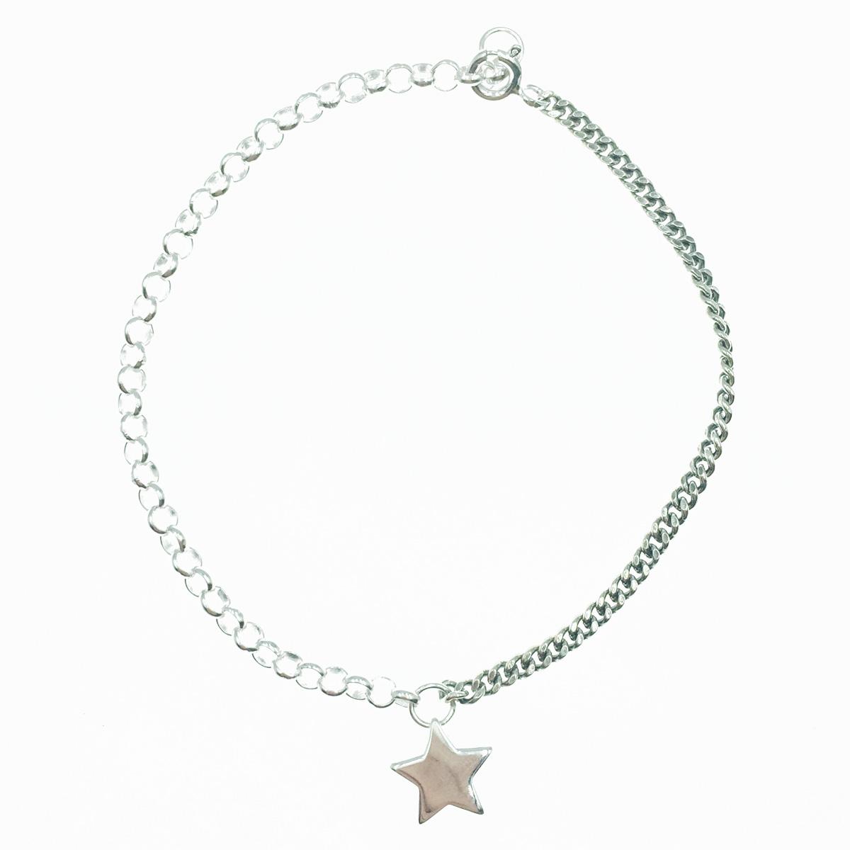 韓國 925純銀 星星 金屬風 墜飾 手飾 手鍊