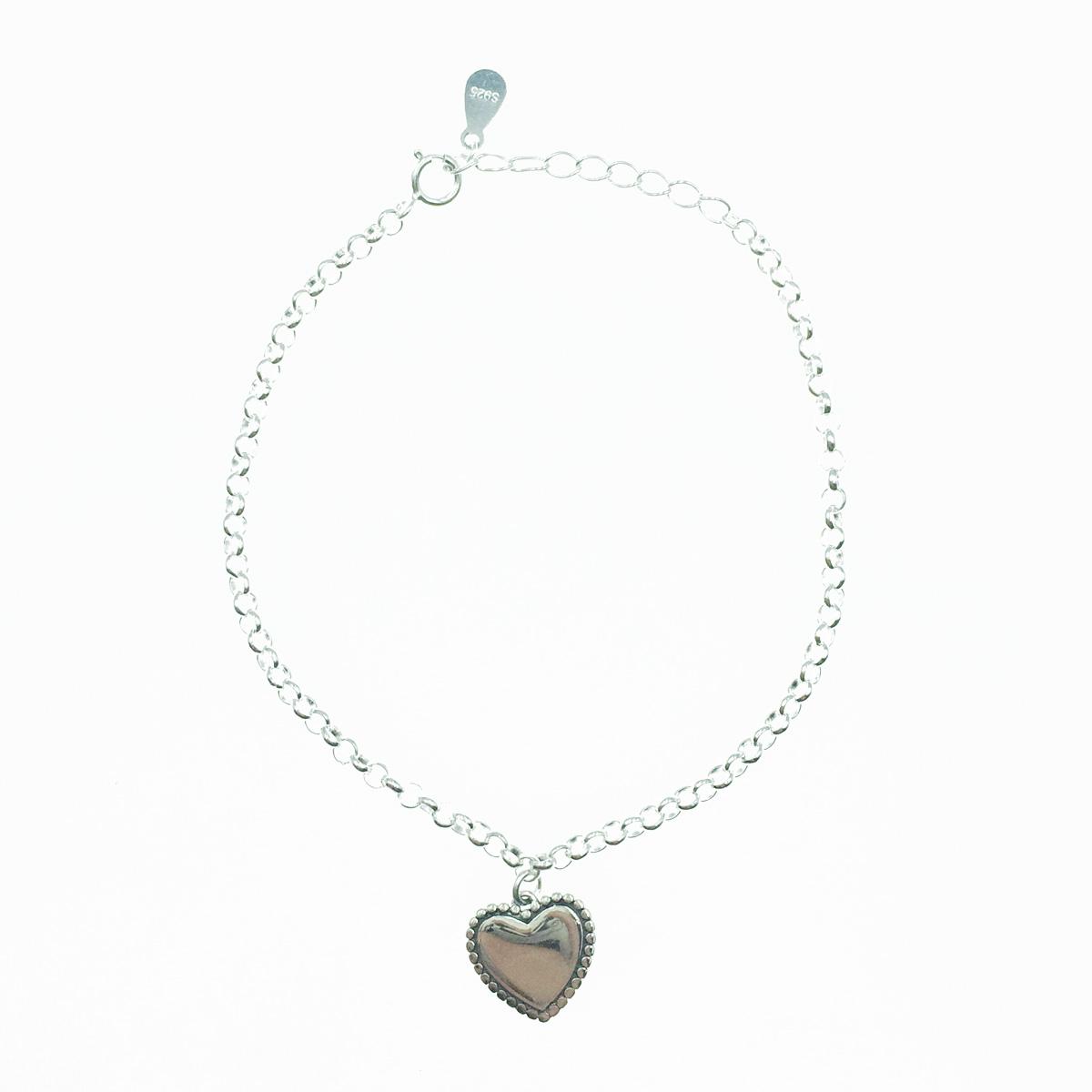 韓國 925純銀 金屬愛心 墜飾 可愛甜美 手飾 手鍊