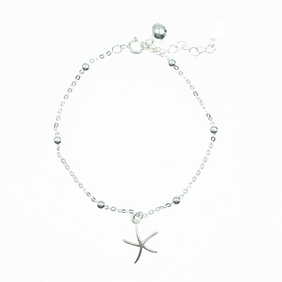 韓國 925純銀 小銀珠 海星 銀 墜飾 手飾 手鍊