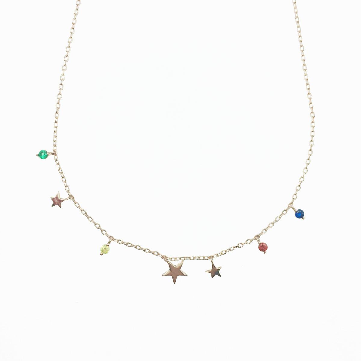 韓國 925純銀 星星 水鑽 玫瑰金 垂墜感 項鍊