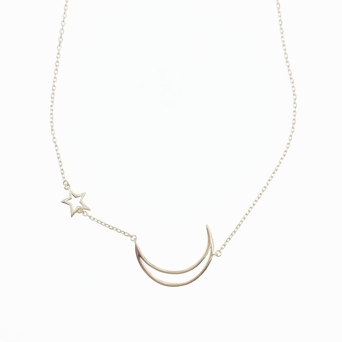 韓國 925純銀 簍空 月亮 星星 玫瑰金 質感 項鍊