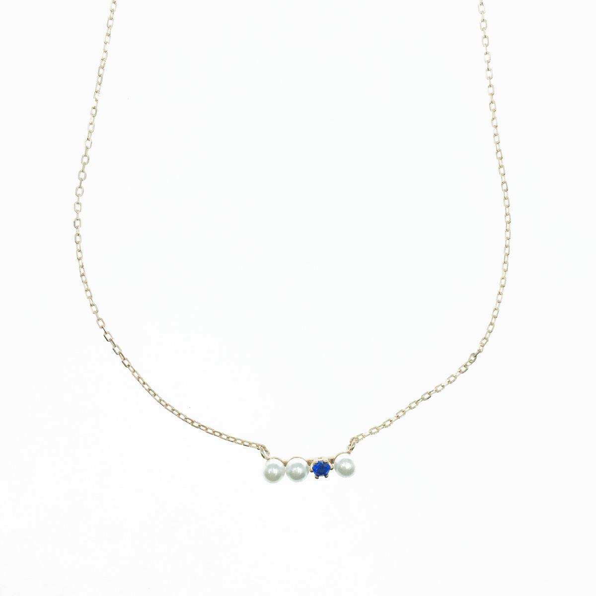 韓國 925純銀 珍珠 藍水鑽 玫瑰金 質感 項鍊