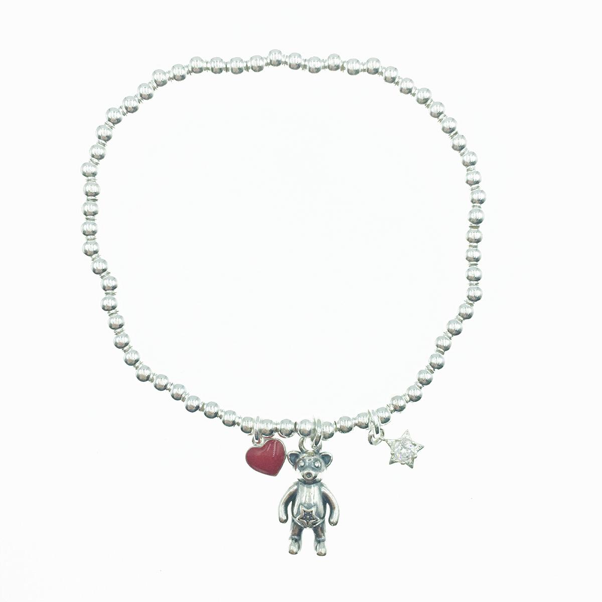韓國 925純銀 紅心 垂墜小熊 星星水鑽 小銀珠 串珠 彈性 手飾 手鍊