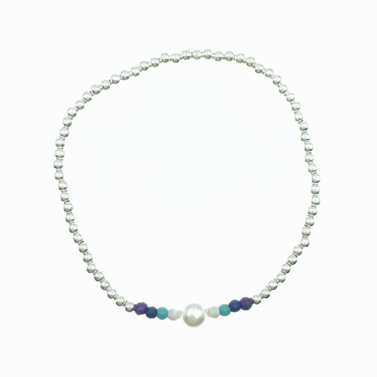 韓國 925純銀 珍珠 串珠 彈性 手飾 手鍊