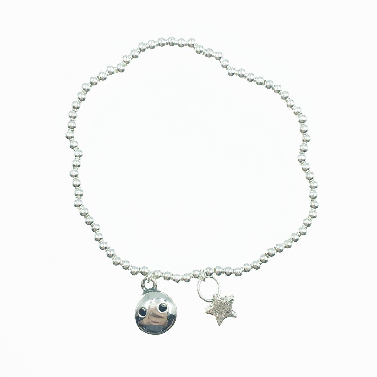 韓國 925純銀 可愛笑臉 微笑 星星 金屬風 手飾 手鍊