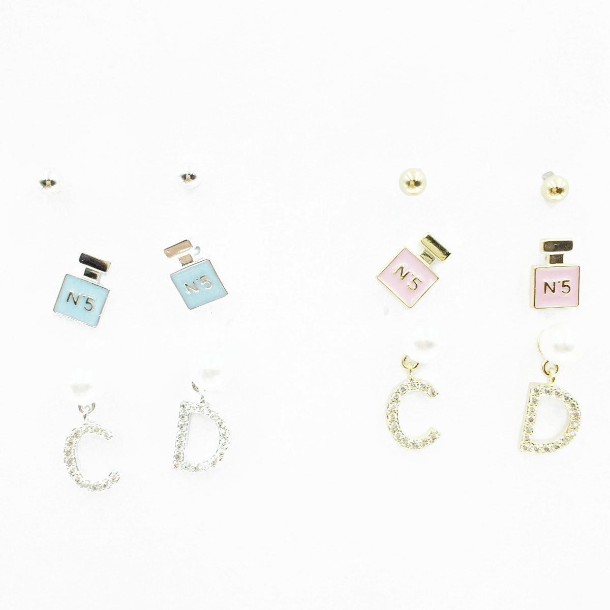 韓國 925純銀 小香風 珍珠 香水瓶 CD 3對組 耳針式耳環