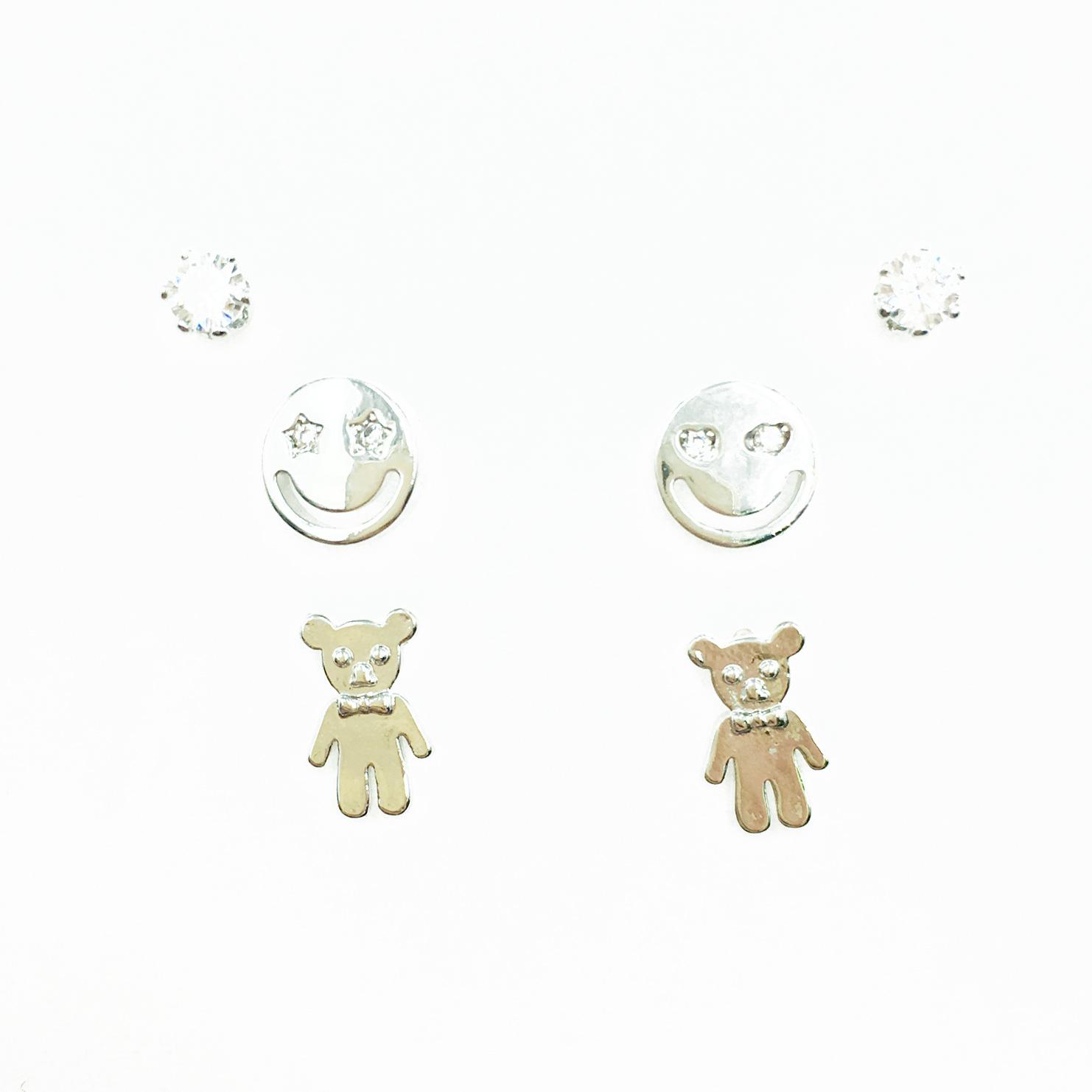 韓國 925純銀 水鑽 笑臉 小熊 3對組 耳針式耳環