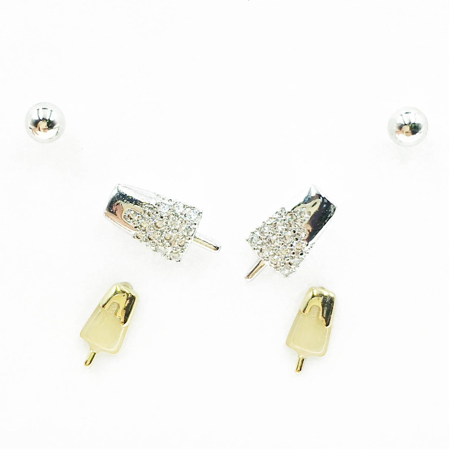 韓國 925純銀 小銀珠 冰棒 水鑽 3對組 耳針式耳環