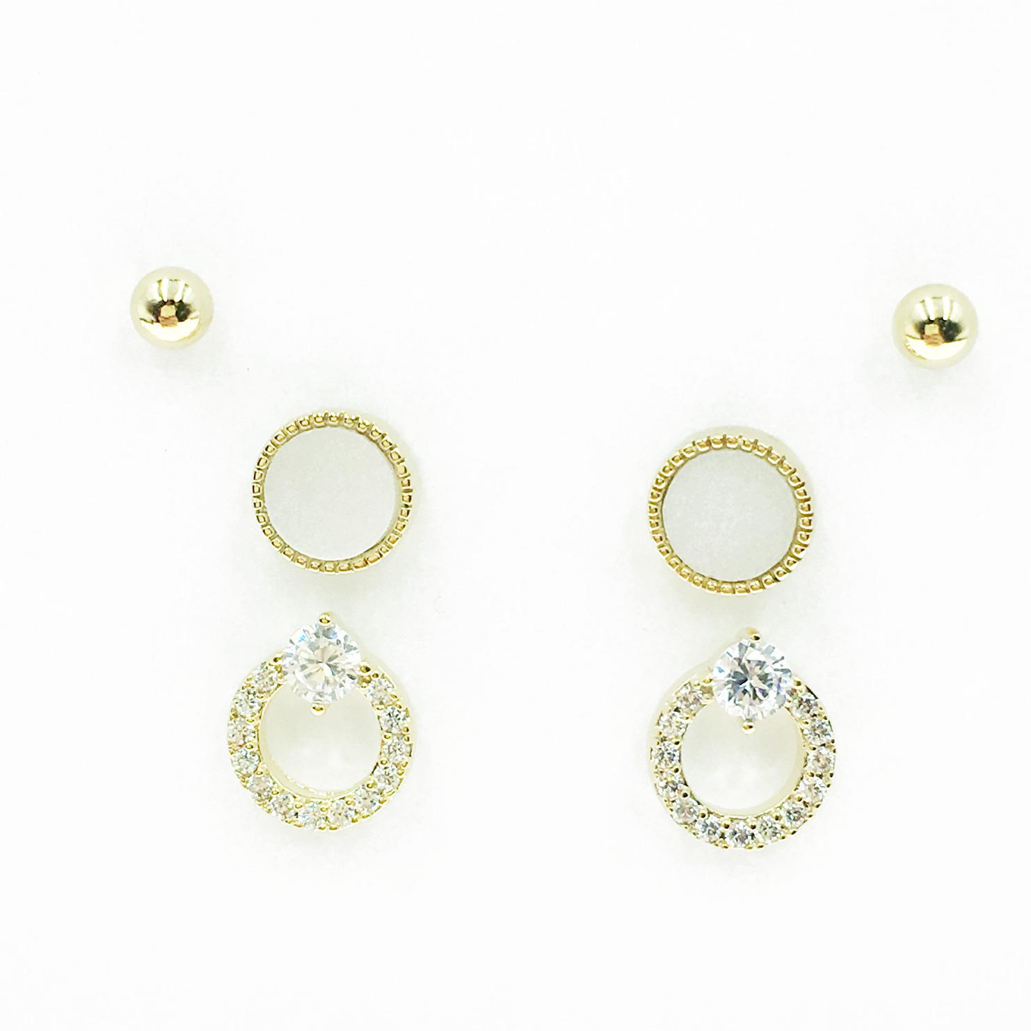 韓國 925純銀 小金珠 簍空 水鑽 3對組 耳針式耳環
