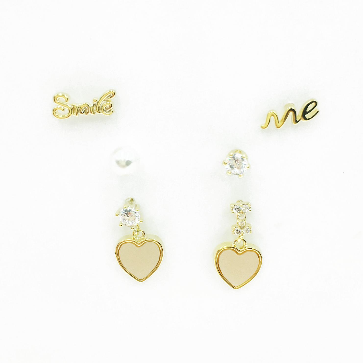 韓國 925純銀 英文字母 珍珠 水鑽 垂墜愛心 3對組 耳針式耳環