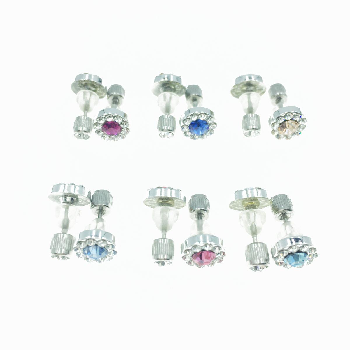 不鏽鋼 水鑽 閃耀單鑽 圓鑽 基本款 6色 後轉耳針式耳環