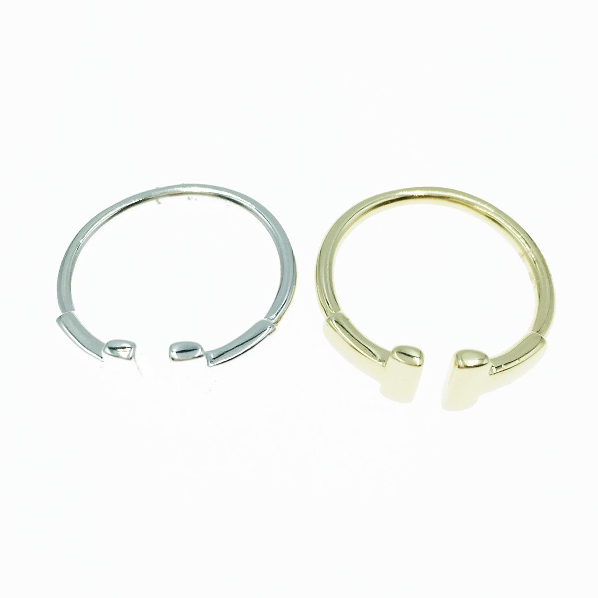 韓國 925純銀 T字形 開口 簡約金屬 質感 2色 可調式 戒指