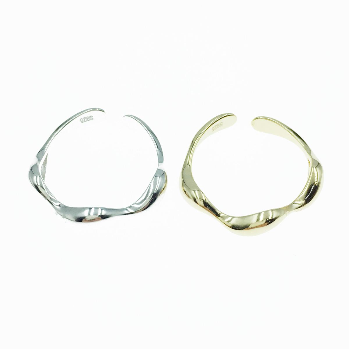 韓國 925純銀 波動曲線 2色 金屬簡約風 可調式 戒指